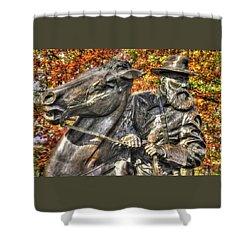 Shower Curtain featuring the photograph War Horses - Lieutenant General James Longstreet-a1 Commanding First Corps Autumn Gettysburg by Michael Mazaika