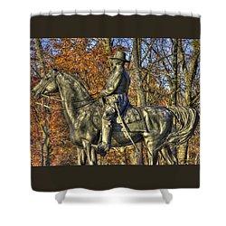 Shower Curtain featuring the photograph War Horses - Major General John Sedgwick Commanding Sixth Corps Autumn Gettysburg by Michael Mazaika