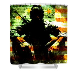 Shower Curtain featuring the painting War Is Hell by Brian Reaves