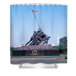 War Memorial With Washington Monument Shower Curtain by Panoramic Images