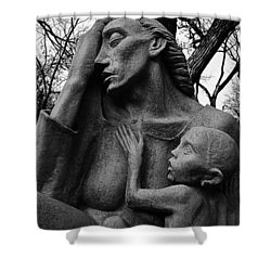 War Mother By Charles Umlauf In Black And White Shower Curtain