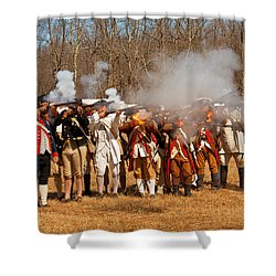 War - Revolutionary War - The Musket Drill Shower Curtain by Mike Savad