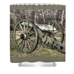 Shower Curtain featuring the photograph War Thunder - 1st New York Light Artillery-c1 Battery D The Wheatfield Late Winter Gettysburg by Michael Mazaika