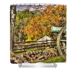 War Thunder - 3rd Massachusetts Light Artillery Battery C - J. Weikert Farm Autumn Gettysburg Shower Curtain by Michael Mazaika
