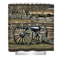 Shower Curtain featuring the photograph War Thunder - 9th Michigan Btry 1st Michigan Light Artillery Battery I Hancock Ave Gettysburg by Michael Mazaika