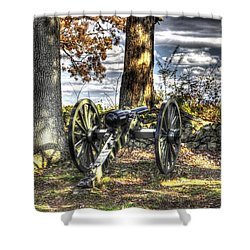 Shower Curtain featuring the photograph War Thunder - Lane's Battalion Ross's Battery-b1 West Confederate Ave Gettysburg by Michael Mazaika