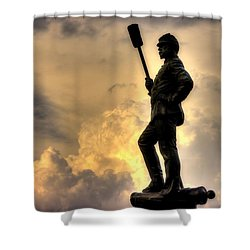 War Thunder - The Clouds Of War - 4th New York Independent Battery Near Devils Den Gettysburg Shower Curtain
