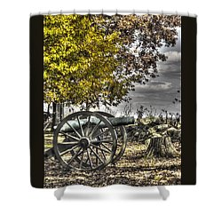 Shower Curtain featuring the photograph War Thunder - The Purcell Artillery Mc Graw's Battery-a2 West Confederate Ave Gettysburg by Michael Mazaika