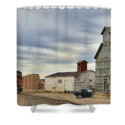 Warbonnet Passing The Grain Elevator Shower Curtain by Ken Smith