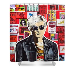 Shower Curtain featuring the mixed media Warhol by Joseph Sonday