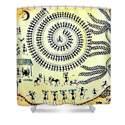 Warli Day Shower Curtain by Anjali Vaidya