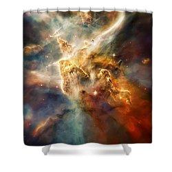 Warm Carina Nebula Pillar 3 Shower Curtain by Jennifer Rondinelli Reilly - Fine Art Photography