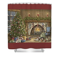 Warm Christmas Shower Curtain by Beverly Levi-Parker