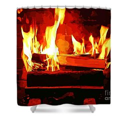 Shower Curtain featuring the photograph Warm Dancing Flames by Judy Palkimas