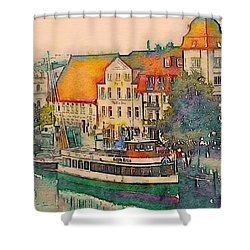 Warnemunde In Watercolor Shower Curtain by Susan Maxwell Schmidt