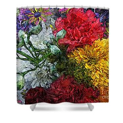Warning Flowers At Large Shower Curtain