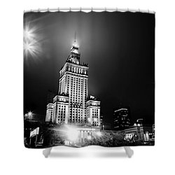 Warsaw Poland Downtown Skyline At Night Shower Curtain