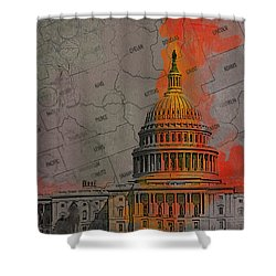 Washington City Collage Shower Curtain by Corporate Art Task Force