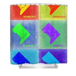 Washington Dc Pop Art Map 3 Shower Curtain by Naxart Studio