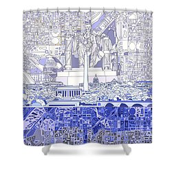 Washington Dc Skyline Abstract 3 Shower Curtain by Bekim Art