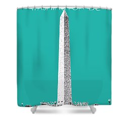 Washington Dc Skyline Washington Monument - Teal Shower Curtain