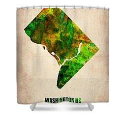 Washington Dc Watercolor Map Shower Curtain by Naxart Studio