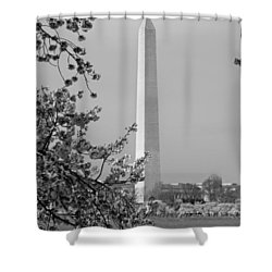 Washington Monument And Cherry Blossoms In April Shower Curtain