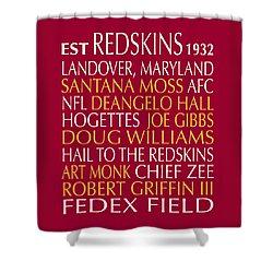 Shower Curtain featuring the digital art Washington Redskins by Jaime Friedman