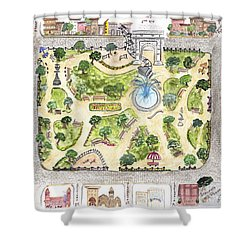 Washington Square Park Map Shower Curtain