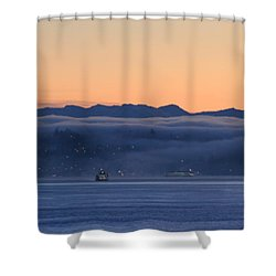 Washington State Ferries At Dawn Shower Curtain
