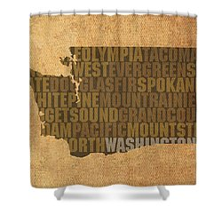Washington Word Art State Map On Canvas Shower Curtain by Design Turnpike