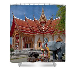 Wat Chalong Wiharn And Elephant Tribute Dthp045 Shower Curtain