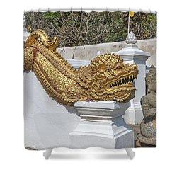 Wat Chedi Liem Phra Ubosot Gate Makara Dthcm0836 Shower Curtain