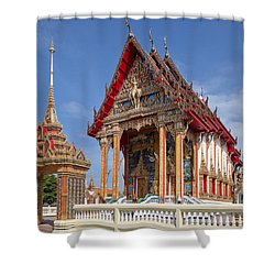 Shower Curtain featuring the photograph Wat Choeng Thalay Ordination Hall Dthp138 by Gerry Gantt