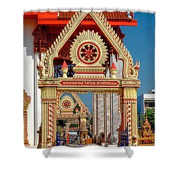 Wat Liab Ubosot Gateway Dthu039 Shower Curtain by Gerry Gantt