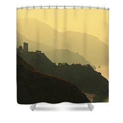 Watch Towers On The Marocerro Gordo Cliffs Shower Curtain by Ken Welsh