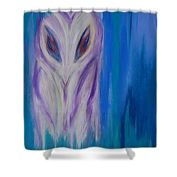 Watcher In The Blue Shower Curtain by First Star Art