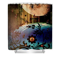 Shower Curtain featuring the mixed media Watching by Ally  White