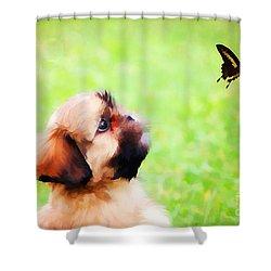Watching Butterflies Shower Curtain