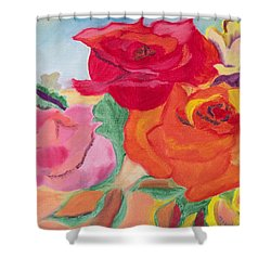 Shower Curtain featuring the painting Watching Over Me by Meryl Goudey