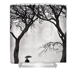 Watching The Moon Shower Curtain by Lee Avison