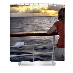 Watching The Sunrise At Sea Shower Curtain by Jason Politte