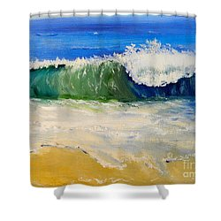 Watching The Wave As Come On The Beach Shower Curtain