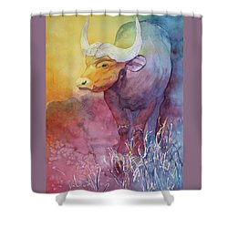 Shower Curtain featuring the painting Water Buffalo by Nancy Jolley