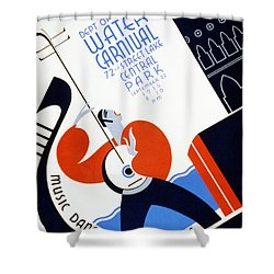 Water Carnival Poster 1936 Shower Curtain by Digital Reproductions