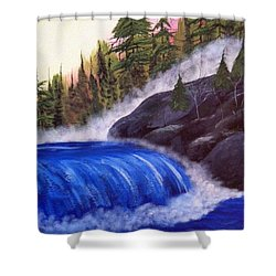Shower Curtain featuring the painting Water Fall By Rocks by Brenda Brown