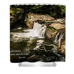 Water Fall With John Muir Quote Shower Curtain
