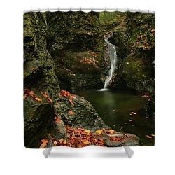 Water Falls As Autumn Starts Shower Curtain by Karol Livote