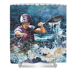 Water Fight Shower Curtain by Miki De Goodaboom