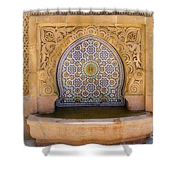 Shower Curtain featuring the photograph Water Fountain Mausoleum Of Mohammed V Opposite Hassan Tower Rabat Morocco  by Ralph A  Ledergerber-Photography
